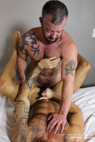 Muscle Daddies Adam Ryker and Michael Roman Fuck Bareback